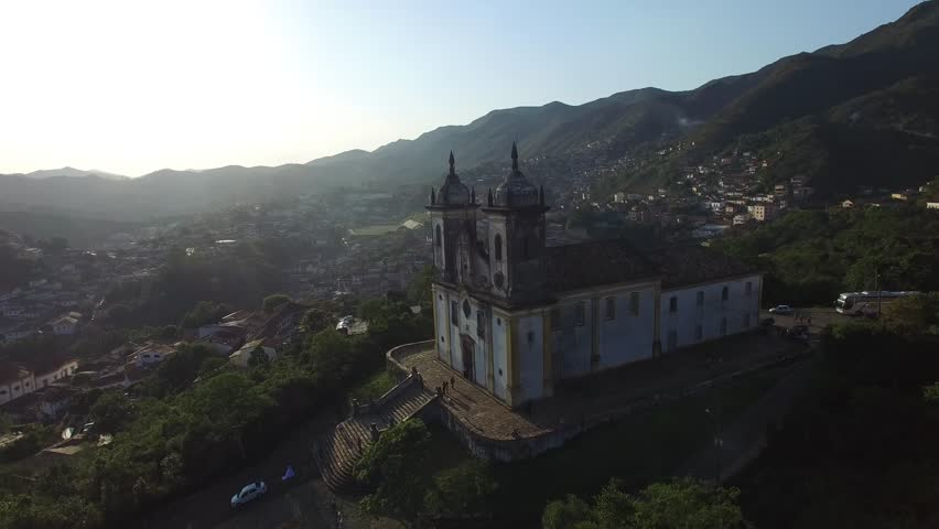 Aerial View of Church of Saint Francis of Paola, Ouro Preto, Minas Gerais, Brazil