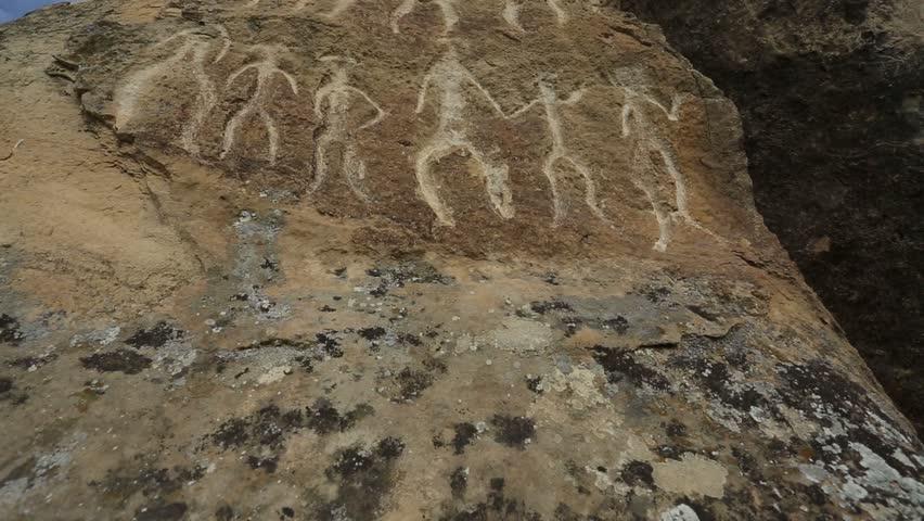 Historical petrographs. Carvings dating back 10 000 BC in Gobustan,Azerbaijan