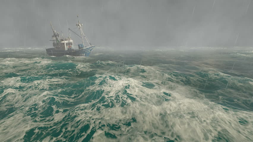 Thunderstorm in the open sea with small fishing boat at foreground and with lightning flashes in the distance. Realistic 3D animation. Great for show the power of nature. | Shutterstock HD Video #12217622
