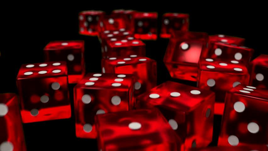 Dice rolling slow motion closeup DOF casino gambling gaming Vegas 4K