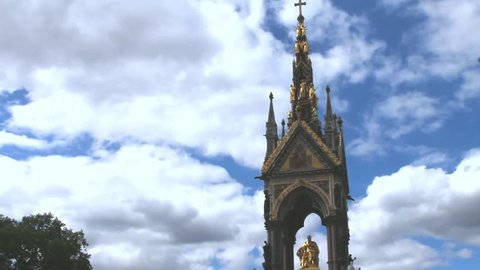 Albert Memorial on cloudy sky background, London, UK.