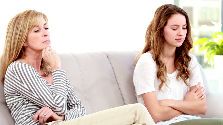 Mother and daughter not talking after argument in high quality 4k format | Shutterstock HD Video #12244925
