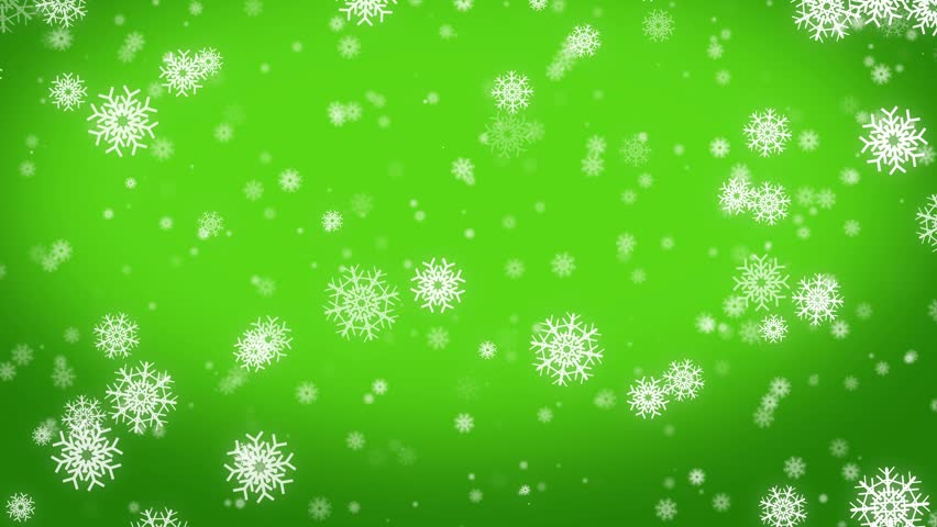 4k Christmas motion background, snowfall with white snow flakes green