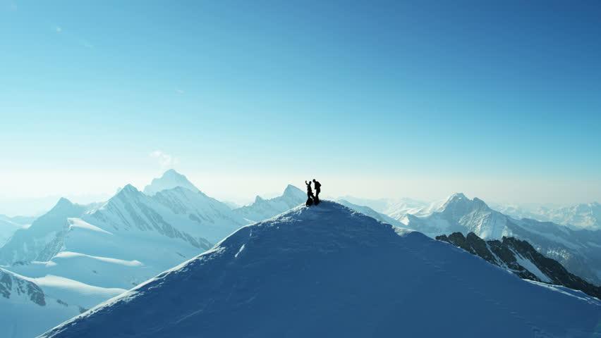 Aerial Switzerland Top Of The World sport mountain Alps mountaineering ridge achievement snow climbers Wilderness equipment summit travel   Shutterstock HD Video #12292109
