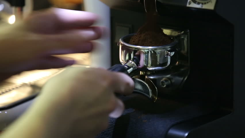 Sequence. Barista making coffee in the coffee machine. | Shutterstock HD Video #12293408