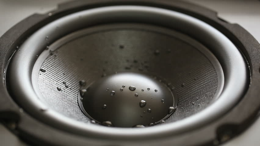 Closeup at moving wet sub-woofer. HD 1080 video