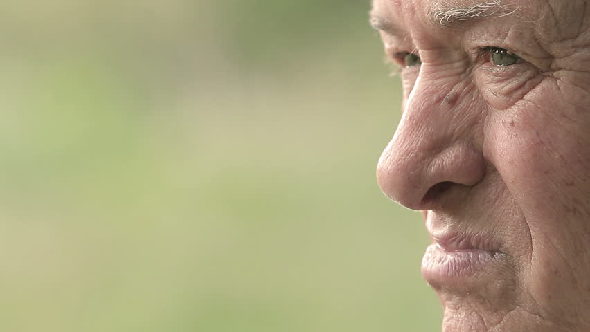 very elderly man portrait with a lot of copy space: sad old man, elderly pensive #12300710