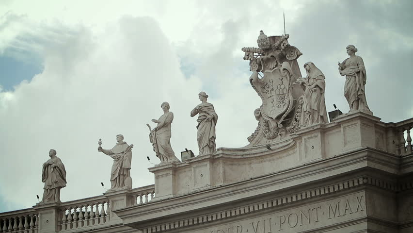 St. peter's square and bernini's colonnade with dramatics clouds in background | Shutterstock HD Video #12301187