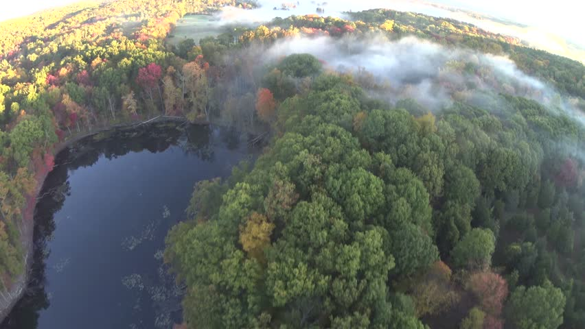 COLORFUL trees, water, fog, low pass fall AERIAL. New England and Upstate NY Fall. 4k aerials from photo plane, not drone.   Shutterstock HD Video #12321650
