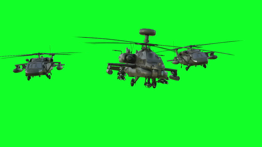 Military helicopterrealistic 3d animation. Realistic reflections, shadows and motion. Green screen