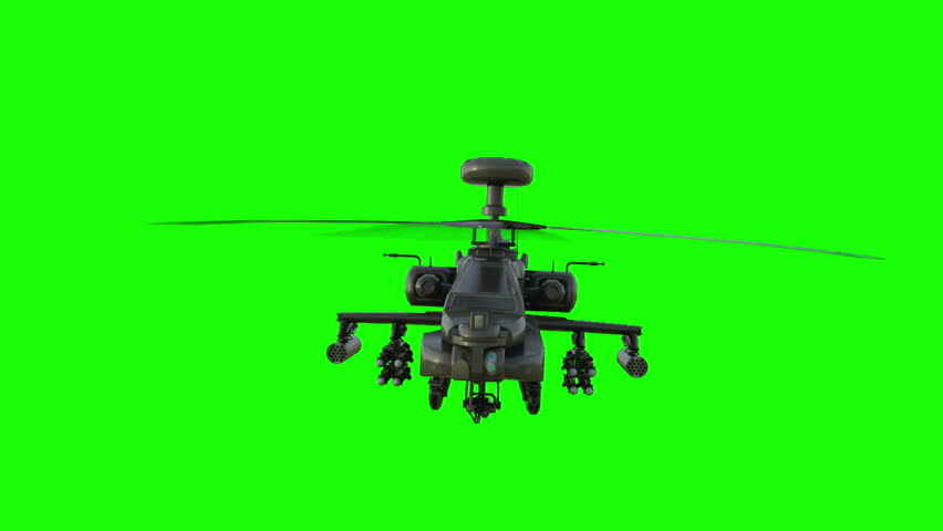 Military helicopter realistic 3d animation. Realistic reflections, shadows and motion. Green screen