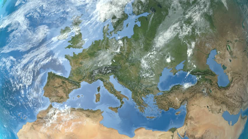 Night to day - rotating Earth. Zoom in on Germany outlined. Satellite high resolution (86400 px) raster used. Elements of this image furnished by NASA. | Shutterstock HD Video #12378509