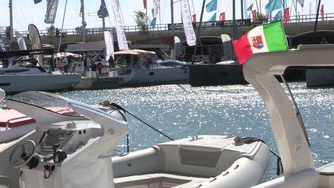 Prow of a boat  at Genoa Boat Show / GENOA, ITALY OCTOBER 5 2015