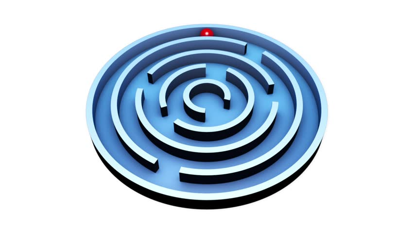 Wisdom  (Round Maze) Red ball into the center of the blue maze. Alpha channel is included. The video clip is made in Cinema 4D (render in 16bit Tiff-sequence). Finishing in After Effects.