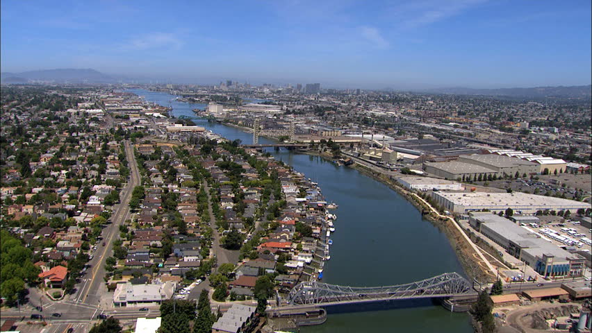 Aerial USA Pacific bridge ocean Oakland Port San Francisco | Shutterstock HD Video #12439598