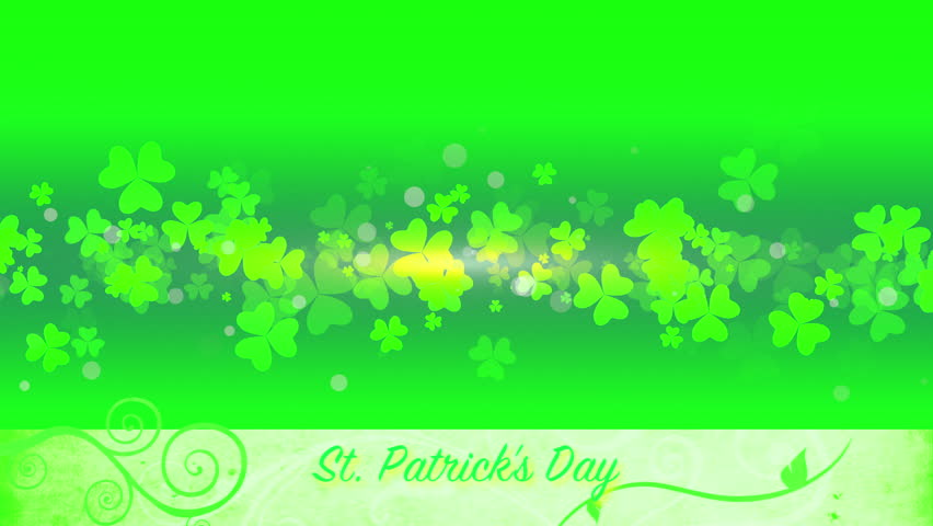 St. Patrick's animated clovers against a green and yellow vignette background. For use as a general backdrop, design element or as an overlay for placement of text or other copy. | Shutterstock HD Video #12460625