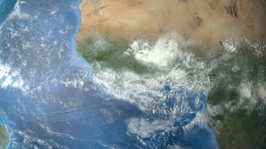 Sierra Leone outlined zoomed on the rotating Earth. Satellite high resolution (86400 px) raster used. Elements of this image furnished by NASA. | Shutterstock HD Video #12473126