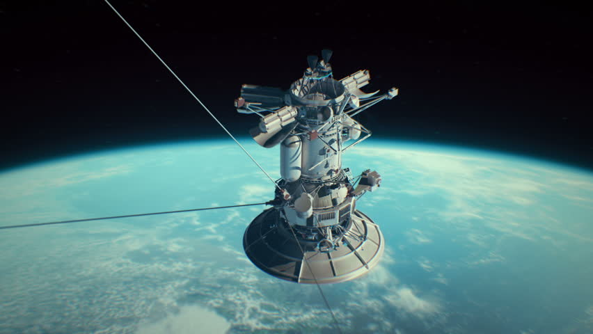 Realistic satellite in low Earth orbit. Be sure and check the other versions of this satellite and find one that best fits your needs. | Shutterstock HD Video #12473747