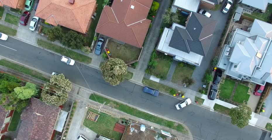 Birds eye aerial view of residential houses, suburbia, suburbs