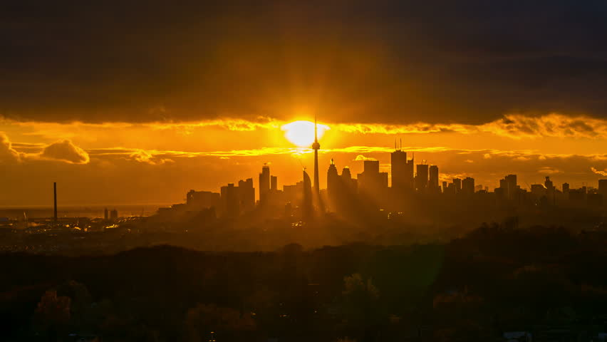 Toronto Skyline City Sunset time lapse 4k 1080 - Time lapse of the sun setting behind the city of Toronto Canada | Shutterstock HD Video #12497309