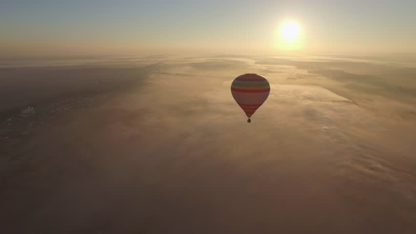 Hot Air Balloon in Bright Blue Sky