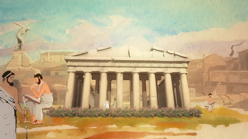 Animated Cartoon Scholars in the Parthenon in Ancient Greece in Athens