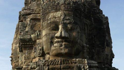 Buddha Face on Temple - Angkor Wat Cambodia - Circa August 2015