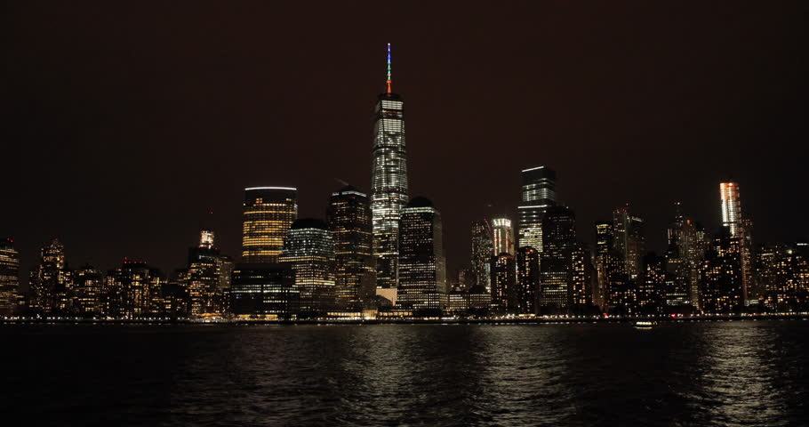 New York City night skyline buildings downtown manhattan | Shutterstock HD Video #12557372