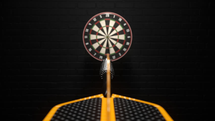 02401 Three Dart Arrows Hitting In Bullseye Of Dartboard