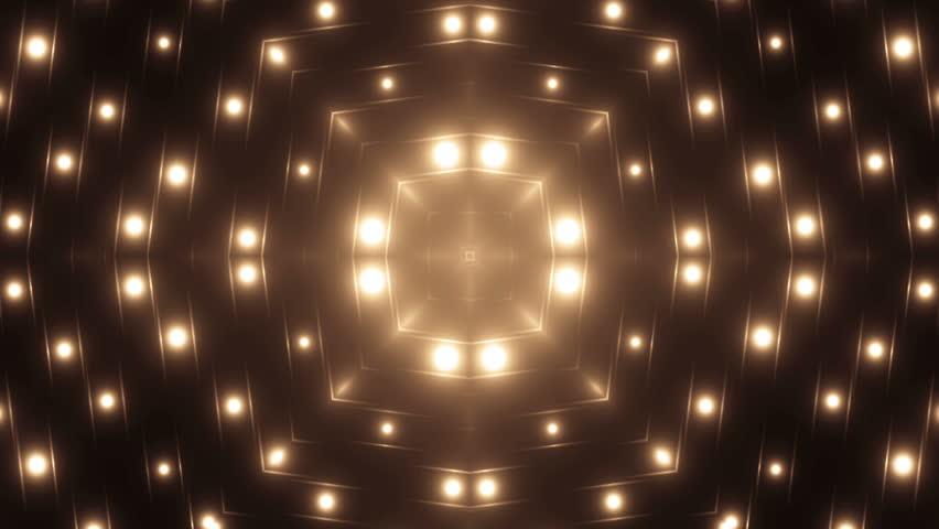 Fractal orange kaleidoscopic background.Background motion with fractal design. Disco spectrum lights concert spot bulb. Seamless loop. #12589562