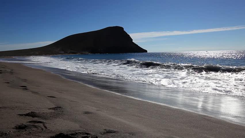 Waves on the beach of Tenerife (Playa de la Tejita)