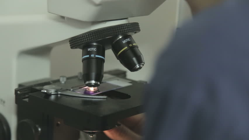 Analyzing sample with microscope | Shutterstock HD Video #12628847