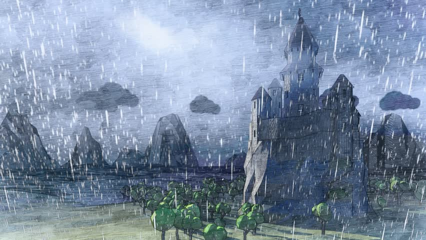 Cartoon. Medieval fairytale castle in the mountain valley landscape with ocean bay. Animated hard rain, storming wind, low clouds, fog. Small lighthouse. Timelaps.