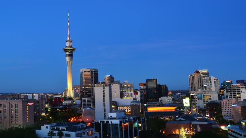 AUCKLAND, NZL - NOV 07 2015:Time lapse of Auckland downtown skyline during sunset.Auckland has been rated one of the world's top 10 cities to visit by travel bible Lonely Planet.