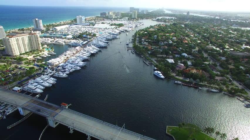 FORT LAUDERDALE - NOVEMBER 4: Aerial drone video of the Fort Lauderdale International Boat Show November 4, 2015 in Fort Lauderdale FL, USA