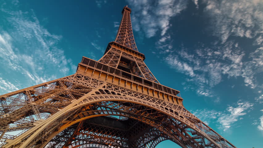 Sunset twilight eiffel tower blue sky down to top view paris 4k time lapse france | Shutterstock HD Video #12657851