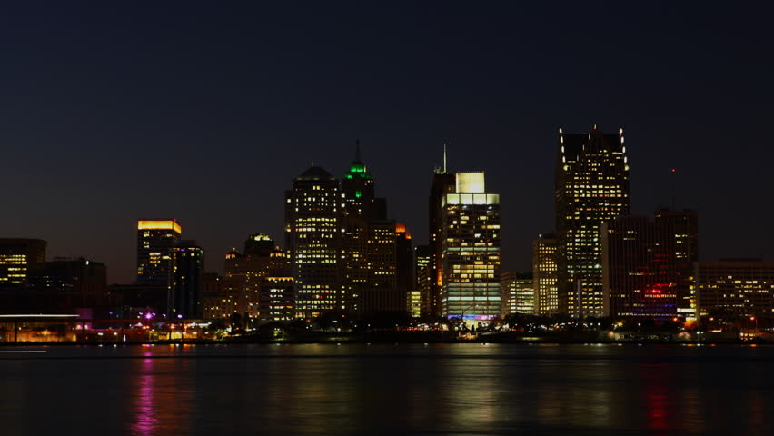 4K UltraHD Timelapse of the Detroit skyline at night