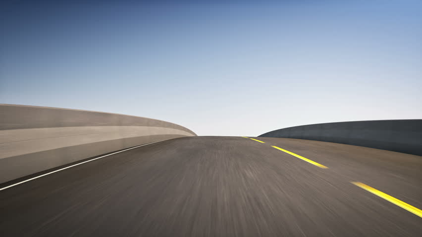 An 18 wheeler Semi-Truck speeding on highway