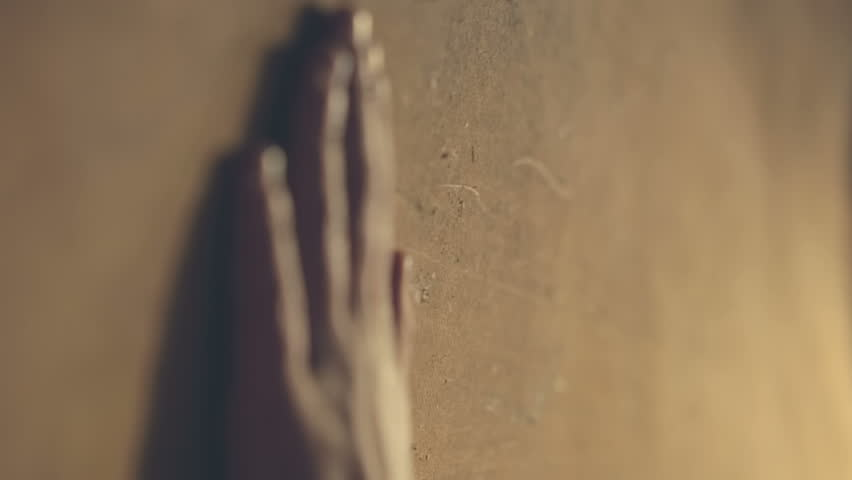 Hand touches the young master of plywood on the wall | Shutterstock HD Video #12709004