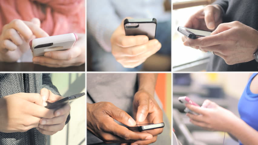 Collage of different people hands texting or typing on smartphones