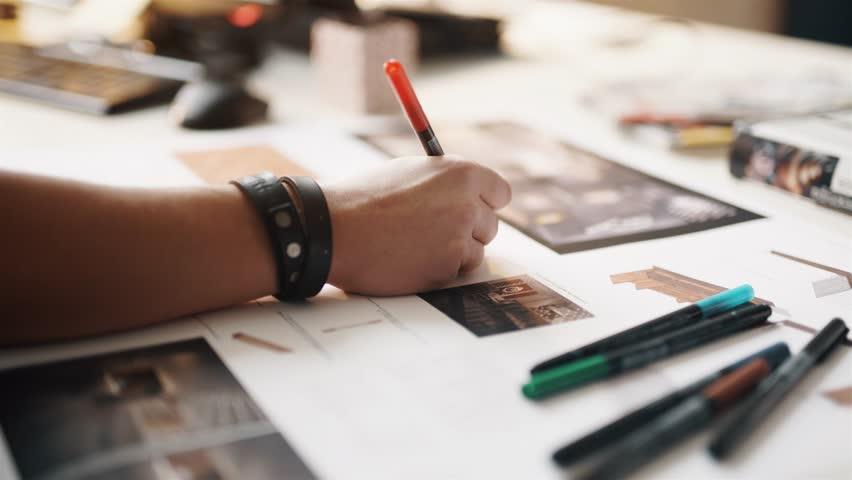 Architect working on blueprint close up | Shutterstock HD Video #12765527