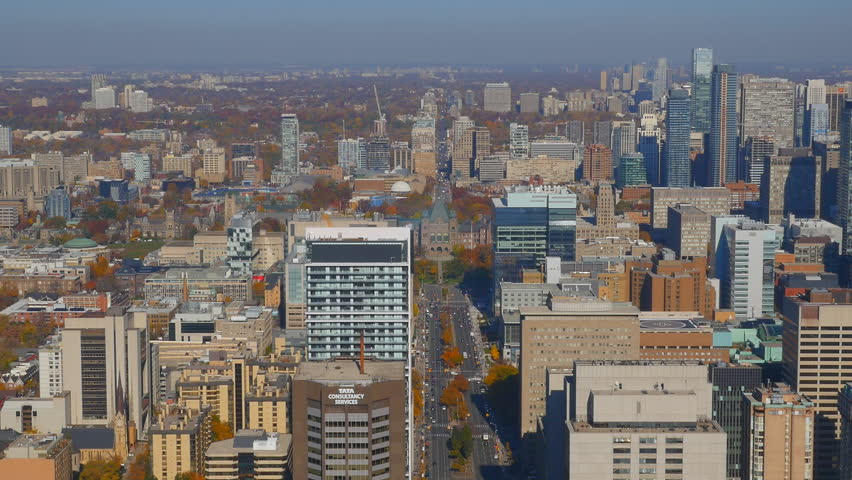 TORONTO, CANADA on NOV 3rd: High angle view of Toronto, Canada on November 3rd, 2015. Toronto is the most populous city in Canada, and the capital of the province of Ontario.