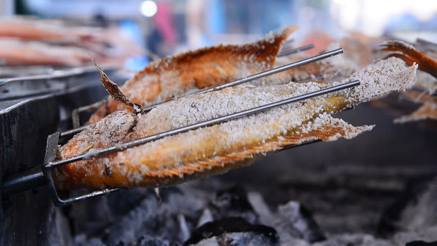 Grilled Fish Rotating ,Chiang Mai Thailand | Shutterstock HD Video #12795944