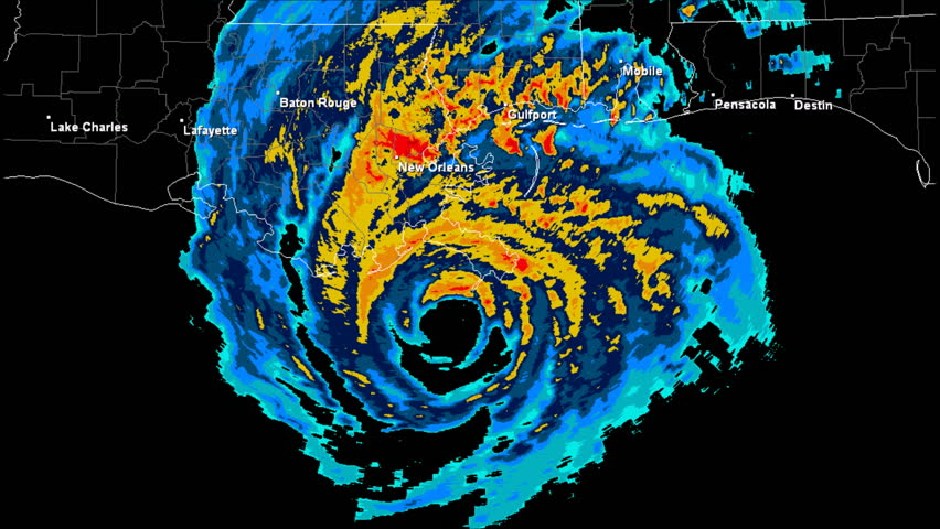 Hurricane Katrina (2005) Landfall Doppler Radar Time Lapse.  Pursuant to 17 U.S.C. § 403: This work was created using archived NEXRAD Data from the NWS which is not subject to copyright protection.