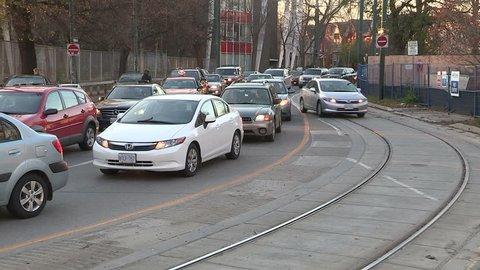 Toronto, Ontario, Canada November 2015 Downtown Toronto traffic gridlock and congestion