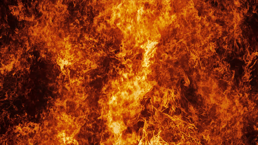 Inferno fire wall in slow motion with seamless loop isolated #12835814