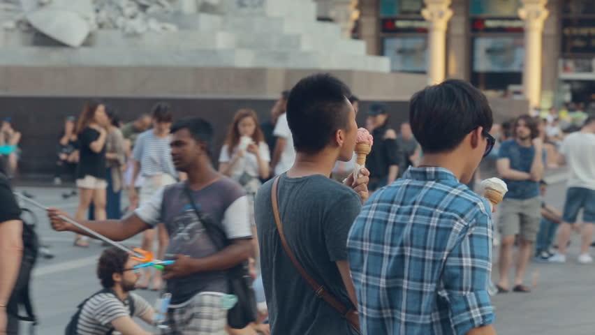 MILAN, ITALY-JULY 21,2015:People walking in the town center in july 21, 2015 in Milan, Italy | Shutterstock HD Video #12867191