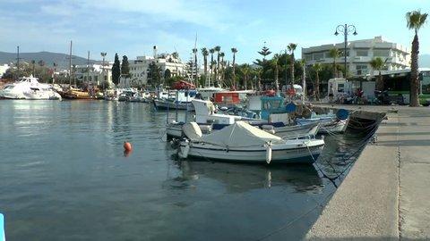 KOS, GREECE - JUNE 04, 2015: Traditional Greek boat in the harbor.