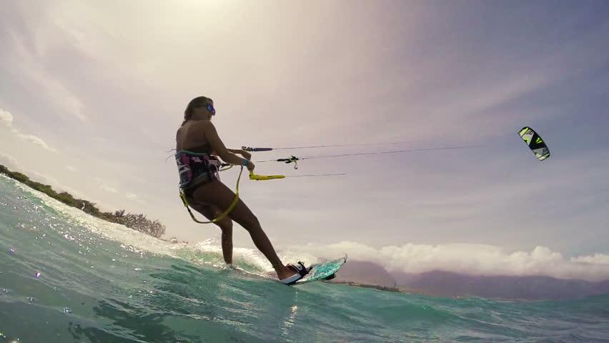 Kite Boarding Extreme Summer Sports POV GOPRO Slow Motion. Young Woman Kitesurfing in Ocean in Bikini. #12877451