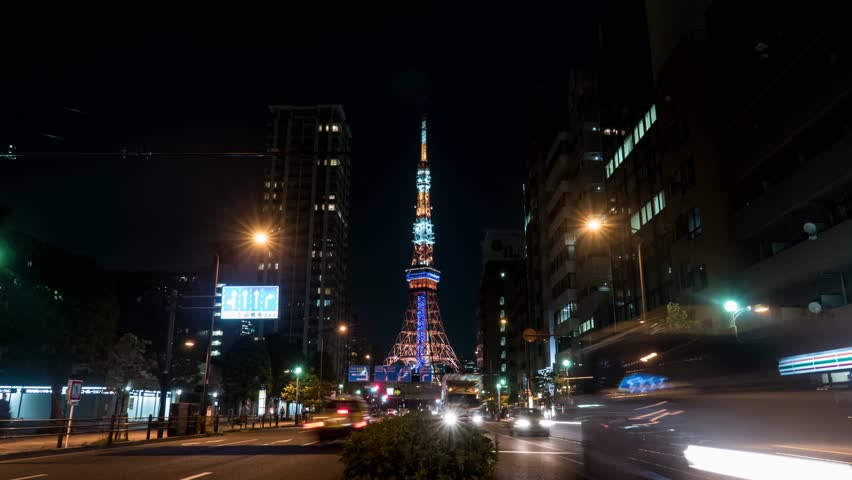 Time lapse footage of Tokyo Tower and street at night | Shutterstock HD Video #12878513